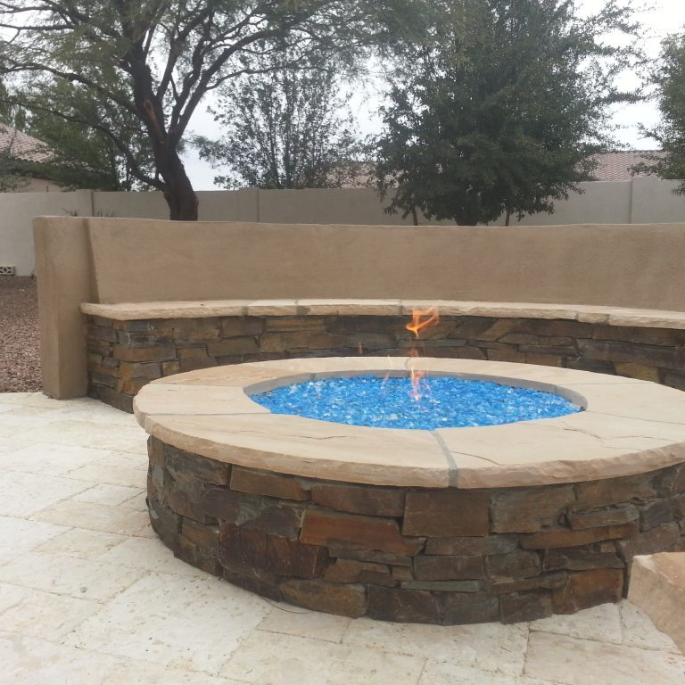 Round firepit with build in seating around